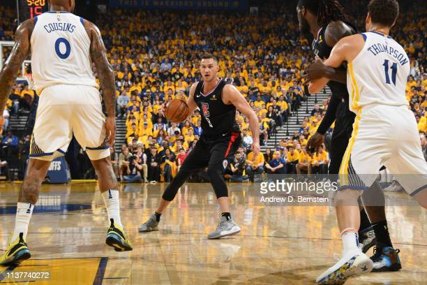 Danilo Gallinari of the LA Clippers handles the ball against the Golden State Warriors during Game One of Round One of the 2019 NBA Playoffs on April...