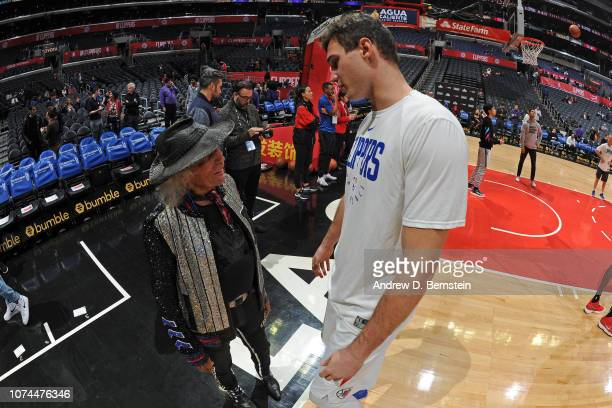 Danilo Gallinari of the LA Clippers speaks with James Goldstein before the game against the Portland Trail Blazers on December 17 2018 at STAPLES...