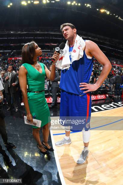 Danilo Gallinari of the LA Clippers speaks with the media after the game against the Brooklyn Nets on March 17 2019 at STAPLES Center in Los Angeles...