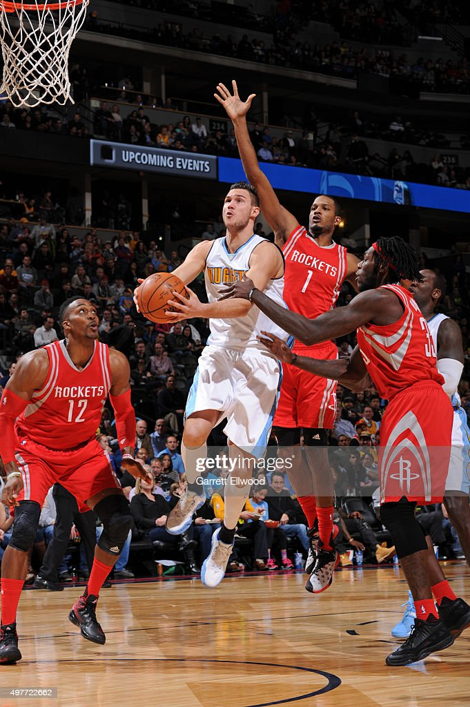 Danilo Gallinari #8 of the Denver Nuggets drives to the basket against the Houston Rockets on November 13, 2015 at the Pepsi Center in Denver, Colorado.