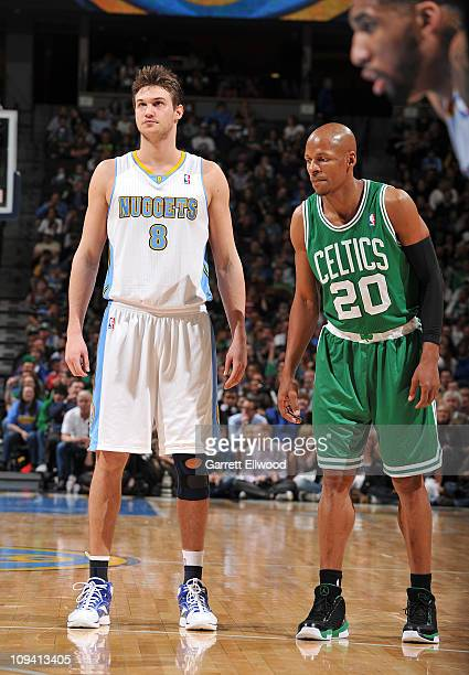Danilo Gallinari of the Denver Nuggets stands on the court during a break in play against Ray Allen of the Boston Celtics on February 24 2011 at the...