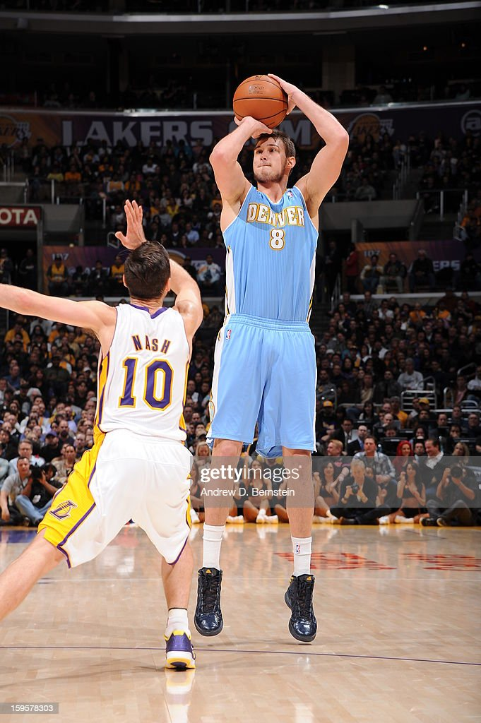 Danilo Gallinari #8 of the Denver Nuggets takes a shot against the Los Angeles Lakers at Staples Center on January 6, 2013 in Los Angeles, California.