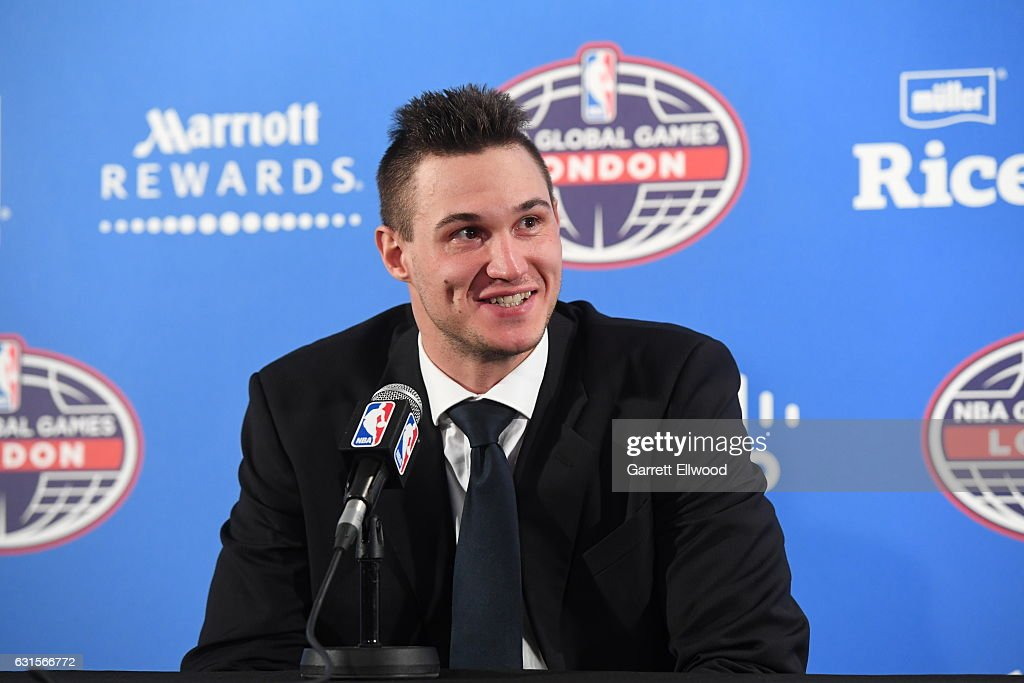 Danilo Gallinari #8 of the Denver Nuggets talks to the media following the game as part of 2017 NBA London Global Games at the O2 Arena on January 12, 2017 in London, England.