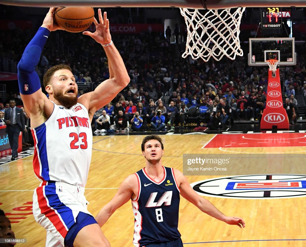 e2a9ee6c685a Danilo Gallinari of the Los Angeles Clippers looks on as Blake ...