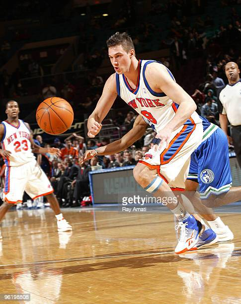 Danilo Gallinari of the New York Knicks goes for the ball against the Minnesota Timberwolves during the game on January 26 2010 at Madison Square...