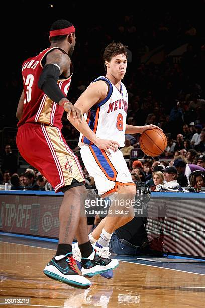 Danilo Gallinari of the New York Knicks goes up against LeBron James of the Cleveland Cavaliers during the game on November 6, 2009 at Madison Square...