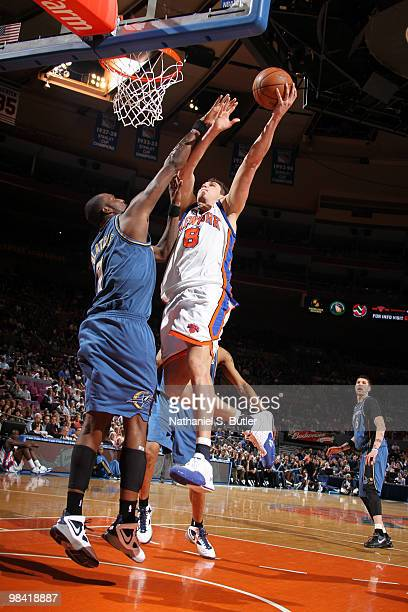 Danilo Gallinari of the New York Knicks shoots against Andray Blatche of the Washington Wizards on April 12, 2010 at Madison Square Garden in New...