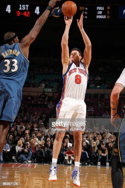 Danilo Gallinari of the New York Knicks shoots against Brendan Haywood of the Washington Wizards on February 3 2010 at Madison Square Garden in New...