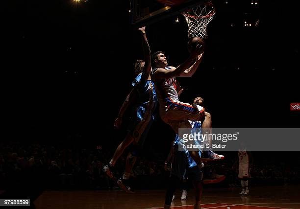 Danilo Gallinari of the New York Knicks shoots against the Denver Nuggets on March 23, 2010 at Madison Square Garden in New York City. NOTE TO USER:...