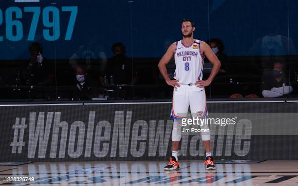 Danilo Gallinari of the Oklahoma City Thunder in the game against the Houston Rockets for Game seven of the first round of the 2020 Playoffs as part...