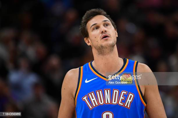 Danilo Gallinari of the Oklahoma City Thunder looks on during a opening night game against the Utah Jazz at Vivint Smart Home Arena on October 23,...