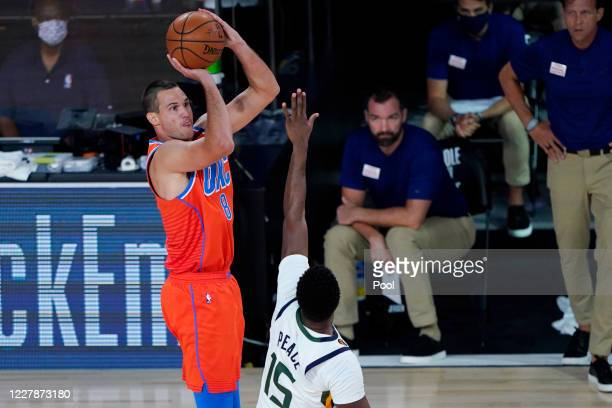 Danilo Gallinari of the Oklahoma City Thunder shoots over Emmanuel Mudiay of the Utah Jazz during the first half of an NBA basketball game on August...