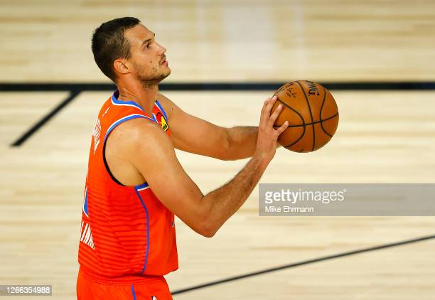 Danilo Gallinari of the Oklahoma City Thunder shoots the ball during the first quarter against the LA Clippers at The Field House at ESPN Wide World...
