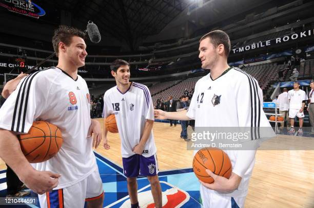 Danilo Gallinari of the Sophomore Team, Omri Casspi of the Rookie Team, and Kevin Love of the Sophomore Team shares a laugh before the T-Mobile...