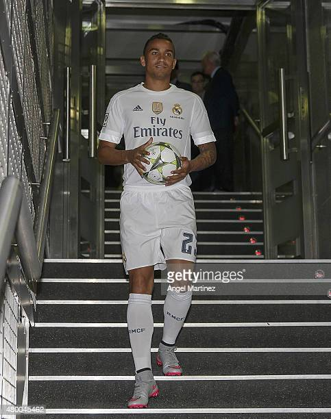Danilo holds the ball during his official presentation as a new Real Madrid player at Estadio Santiago Bernabeu on July 9 2015 in Madrid Spain