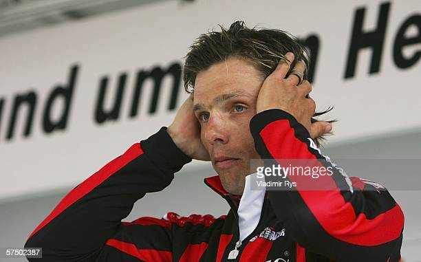 Danilo Hondo of Germany and Team Lamonta reacts after finishing 3rd during the 2006 edition of the cycling race Rund um den Henninger Turm on May 1...