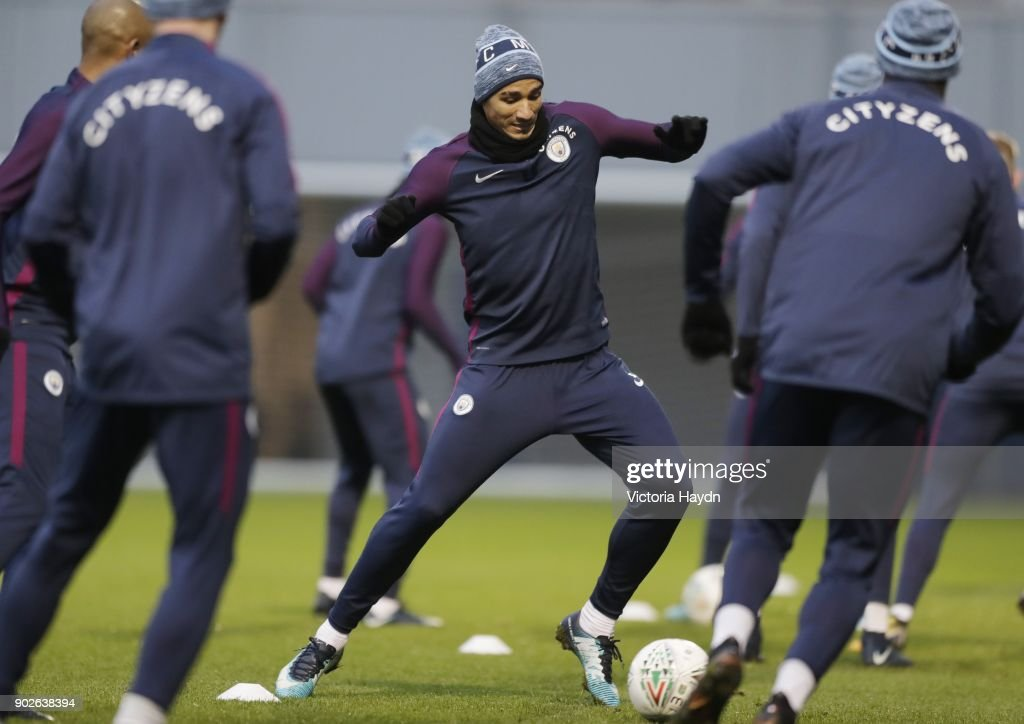 Danilo in action during training at Manchester City Football Academy on January 8, 2018 in Manchester, England.