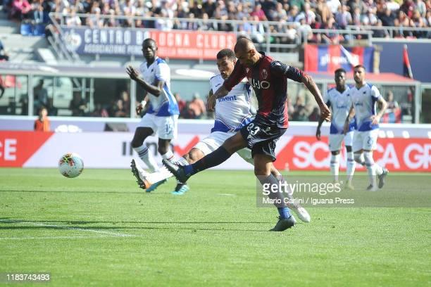 Danilo Larangeira of Bologna FC kicks the ball towards the goal during the Serie A match between Bologna FC and UC Sampdoria at Stadio Renato...