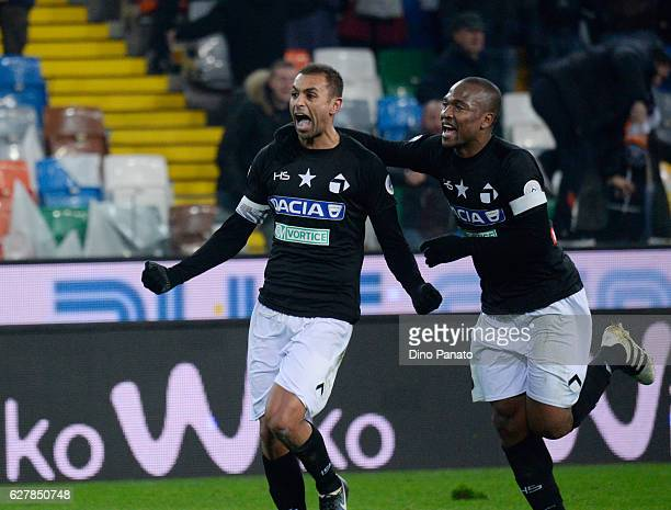 Danilo Larangeira of Udinese Calcio celebrates after scoring his opening goal during the Serie A match between Udinese Calcio and Bologna FC at...