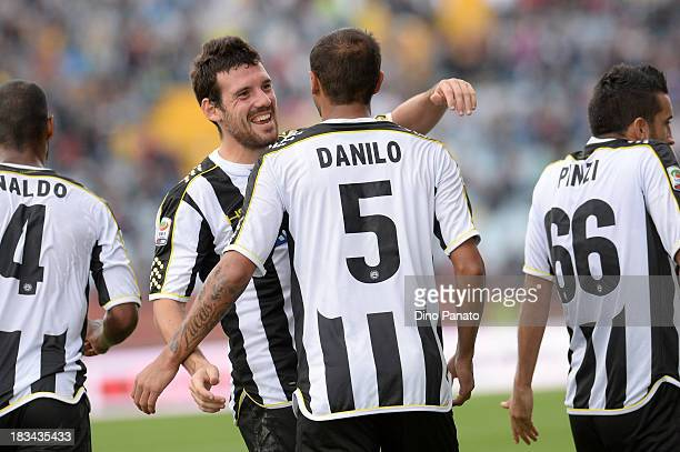Danilo Larangeira of Udinese celebrates with Andrea Lazzari after scoring his opening goal during the Serie A match between Udinese Calcio and...