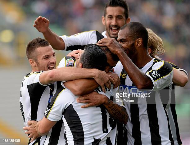 Danilo Larangeira of Udinese celebrates with teammates after scoring his opening goal during the Serie A match between Udinese Calcio and Cagliari...