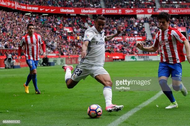 Danilo Luiz Da Silva defender of Real Madridd takes a shot during the La Liga Santander match between Sporting de Gijon and Real Madrid at Molinon...