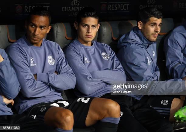 Danilo Luiz da Silva James Rodriguez Alvaro Morata of Real Madrid seat on the bench during the UEFA Champions League Quarter Final first leg match...