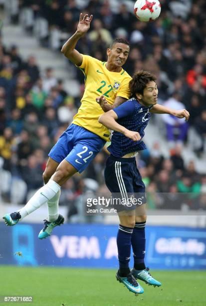 Danilo Luiz da Silva of Brazil Genki Haraguchi of Japan during the international friendly match between Japan and Brazil at Stade Pierre Mauroy on...