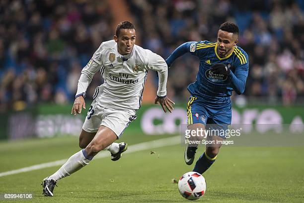 Danilo Luiz Da Silva of Real Madrid battles for the ball with Theo Bongonda Mbul'ofeko Batombo of Celta de Vigo during their Copa del Rey 201617...