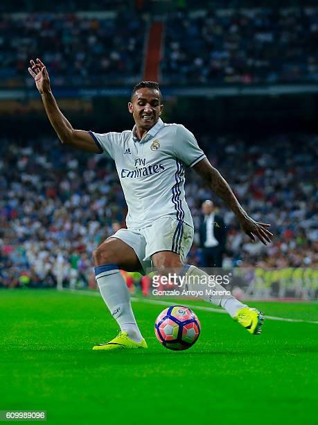 Danilo Luiz da Silva of Real Madrid CF strikes the ball during the La Liga match between Real Madrid CF and Villarreal CF at Santiago Bernabeu...