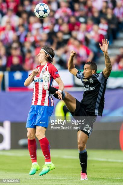 Danilo Luiz Da Silva of Real Madrid fights for the ball with Filipe Luis of Atletico de Madrid during their 201617 UEFA Champions League Semifinals...