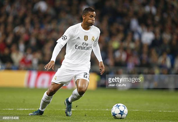 Danilo Luiz da Silva of Real Madrid in action during the UEFA Champions League match between Real Madrid and Paris SaintGermain at Santiago Bernabeu...
