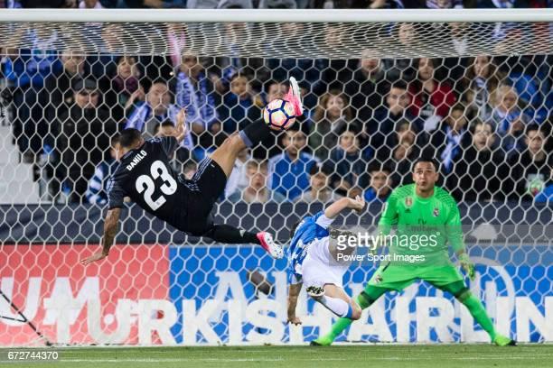 Danilo Luiz Da Silva of Real Madrid saves a shot during their La Liga match between Deportivo Leganes and Real Madrid at the Estadio Municipal...