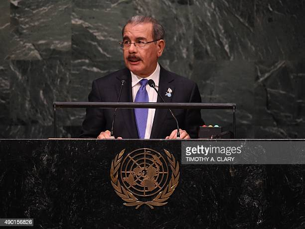 Danilo Medina Sanchez President of the Dominican Republic speaks during the United Nations Sustainable Development Summit at the United Nations...
