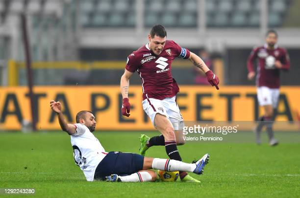 Danilo of Bologna attempts to tackle Andrea Belotti of Torino during the Serie A match between Torino FC and Bologna FC at Stadio Olimpico di Torino...