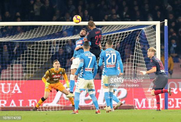 Danilo of Bologna FC scores the 22 goal during the Serie A match between SSC Napoli and Bologna FC at Stadio San Paolo on December 29 2018 in Naples...