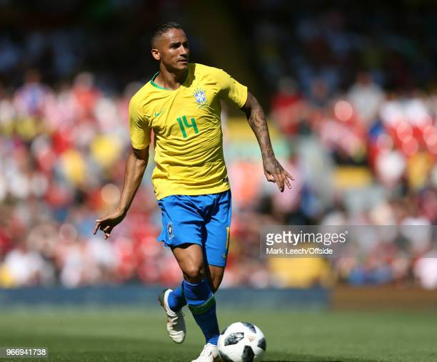 Danilo of Brazil during the friendly international football match between Brazil and Croatia at Anfield on June 3 2018 in Liverpool England