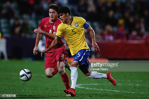 Danilo of Brazil makes a break during the FIFA U20 World Cup Final match between Brazil and Serbia at North Harbour Stadium on June 20 2015 in...