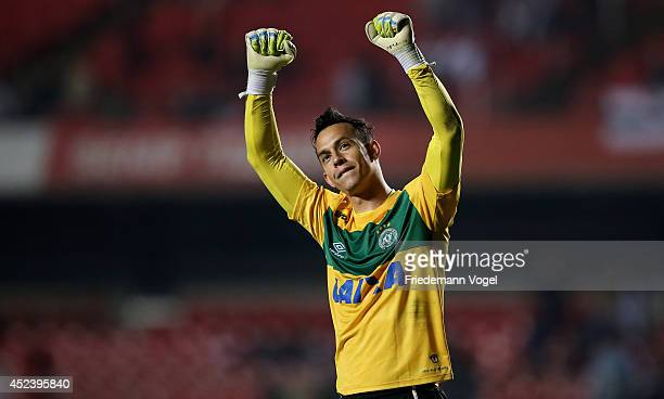 Danilo of Chapecoense celebrates during the match between Sao Paulo and Chapecoense for the Brazilian Series A 2014 at Estadio do Morumbi on July 19...