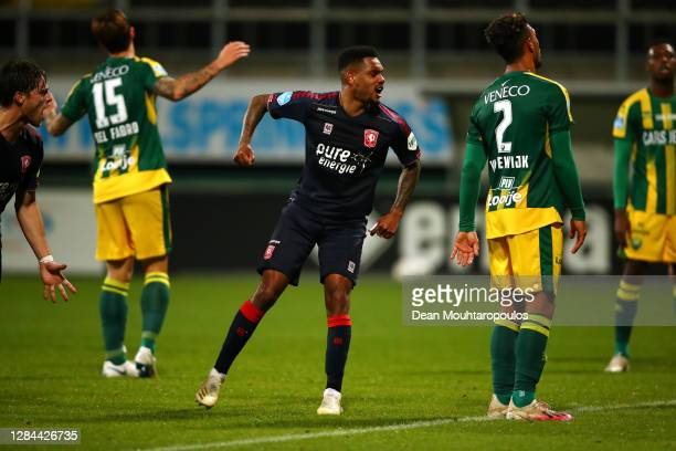 Danilo of FC Twente celebrates scoring his teams third goal of the game during the Dutch Eredivisie match between ADO Den Haag and FC Twente at Cars...