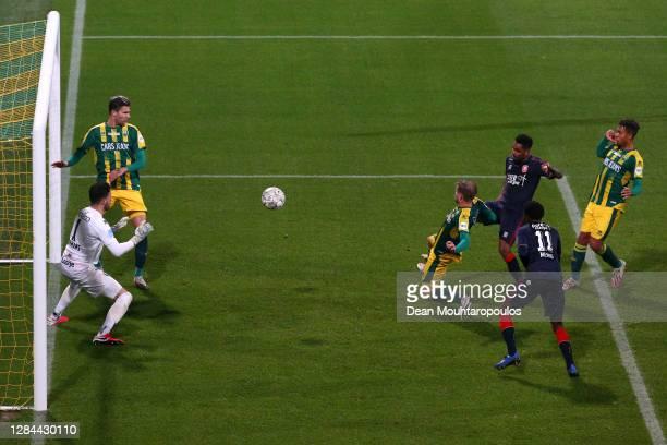 Danilo of FC Twente scores his teams third goal in the final minutes past Goalkeeper, Luuk Koopmans of ADO Den Haag during the Dutch Eredivisie match...
