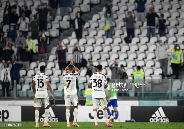 Danilo of Juventus Cristiano Ronaldo of Juventus and Gianluca Frabotta of Juventus thank the fans after the match during the Serie A match between...