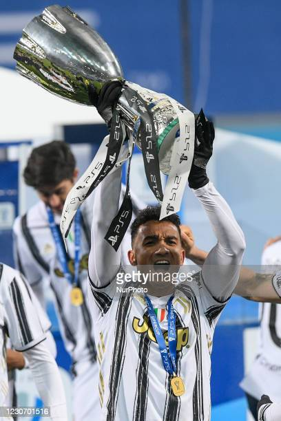 Danilo of Juventus FC celebrates after winning the Italian Super Cup Final match between FC Juventus and SSC Napoli at the Mapei Stadium - Citta' del...