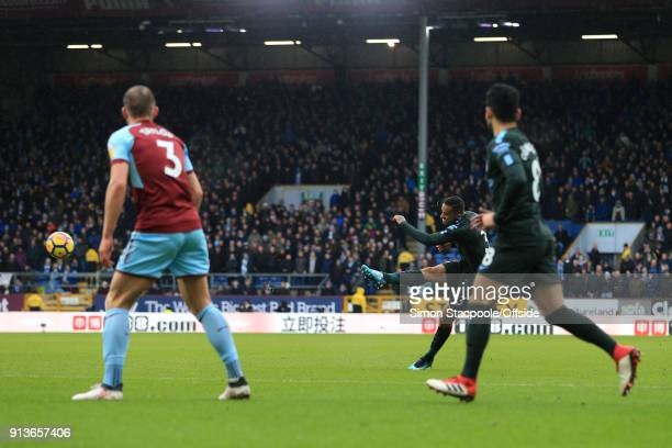 Danilo of Man City scores their 1st goal during the Premier League match between Burnley and Manchester City at Turf Moor on February 3 2018 in...
