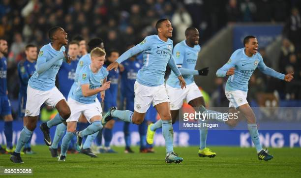 Danilo of Manchester City and team mates celebrate shoot out victory during the Carabao Cup QuarterFinal match between Leicester City and Manchester...