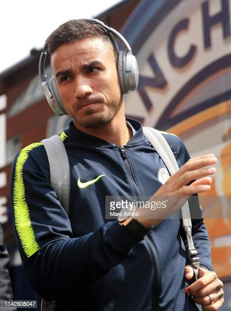 Danilo of Manchester City arrives prior to the Premier League match between Crystal Palace and Manchester City at Selhurst Park on April 14 2019 in...