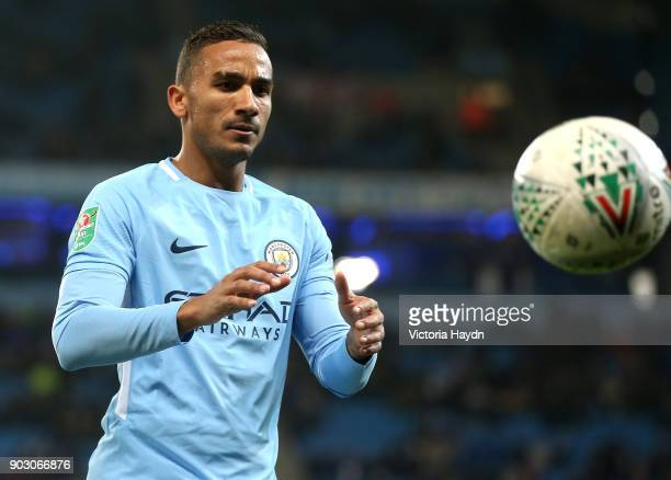 Danilo of Manchester City catches the ball during the Carabao Cup SemiFinal First Leg match between Manchester City and Bristol City at Etihad...