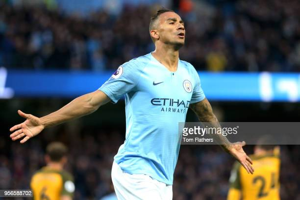Danilo of Manchester City celebrates after scoring his sides first goal during the Premier League match between Manchester City and Brighton and Hove...