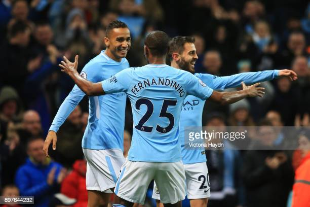 Danilo of Manchester City celebrates after scoring his sides fourth goal with Bernardo Silva of Manchester City and Fernandinho of Manchester City...