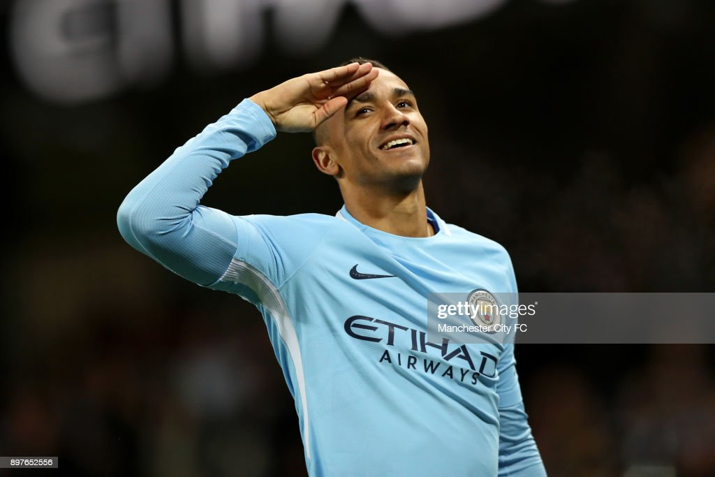 Danilo of Manchester City celebrates after scoring his sides fourth goal during the Premier League match between Manchester City and AFC Bournemouth at Etihad Stadium on December 23, 2017 in Manchester, England.
